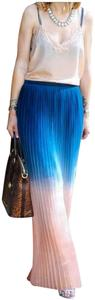 Cynthia Rowley Allover Pleated Side Zip Closure Fully Lined Waistband Maxi Skirt Multi-Color