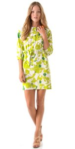 Diane von Furstenberg short dress Green, Lime, White Shirtdress Belted Silk Julieta on Tradesy