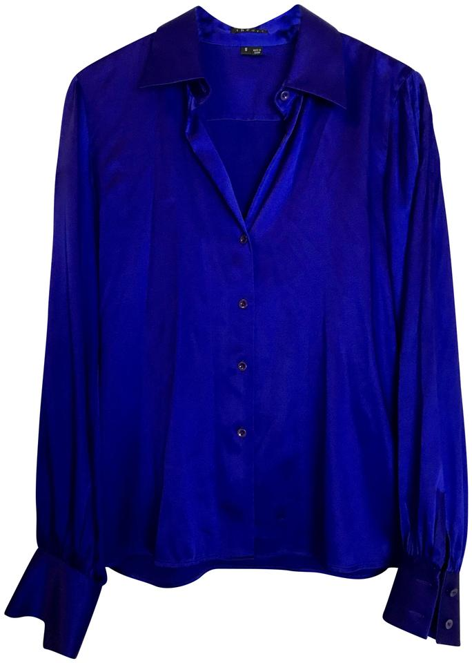 Brand new Theory Royal Blue Silk Blouse Size 4 (S) - Tradesy LC13