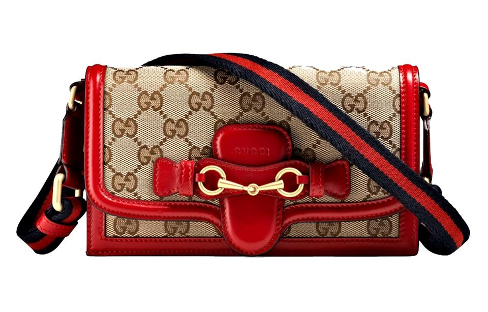 09bea3fcd Gucci Lady Web Gg Convertible Wallet On Strap Beige/Ebony/Red Canvas ...