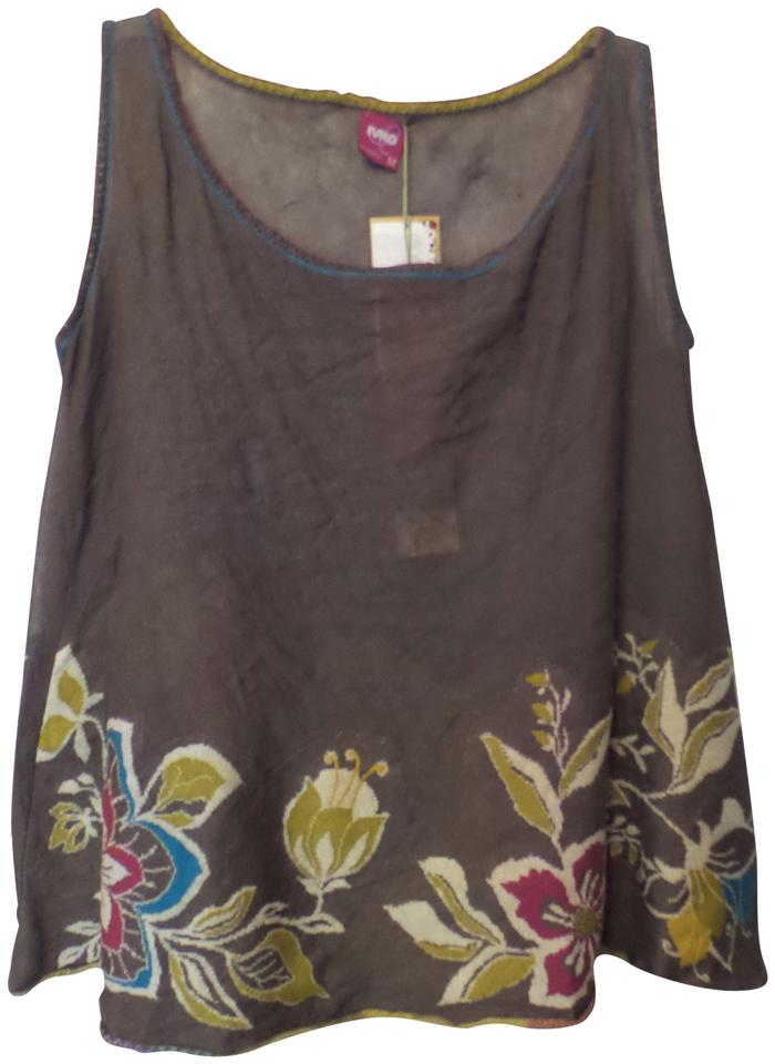 ec055b0bad New W/ Tag Metal Cotton Fine Knit Floral Intarsia Tank Size M Multi-color  Sweater 70% off retail