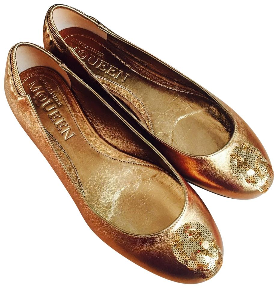 ladies Brown/Gold Alexander McQueen Brown/Gold ladies Skull Flats Flagship store 539217