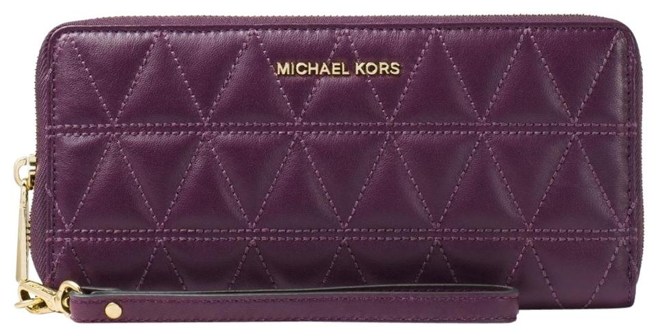 295dc3cdccdb Michael Kors Damson Jet Set Travel Quilted Leather Continental Wallet