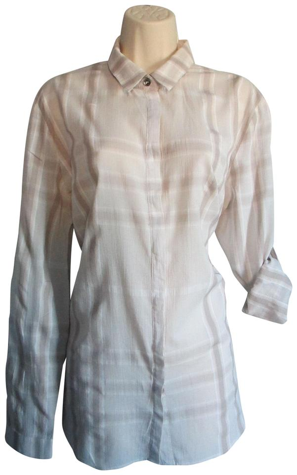 8b161cb827b0e Burberry Beige Women s Designer Nova Check Dress Button Up Shirt  Button-down Top