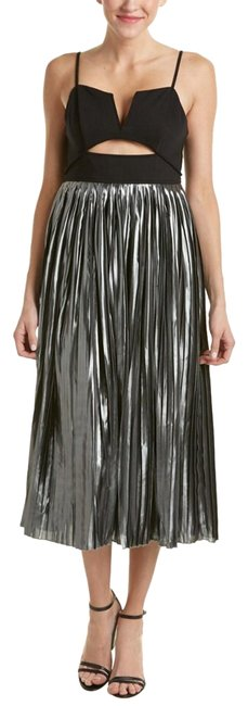 Free People Black & Gray Metallic Piper Pleated Midi Mid-length Night Out Dress Size 2 (XS) Free People Black & Gray Metallic Piper Pleated Midi Mid-length Night Out Dress Size 2 (XS) Image 1