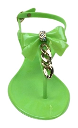 Bamboo Jellies Bow Chain Flat Neon Green Sandals