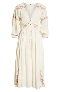 Maxi Dress by Free People V-neck Print A-line Button
