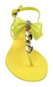 Bamboo Bow Chain Rhinestones Yellow Sandals