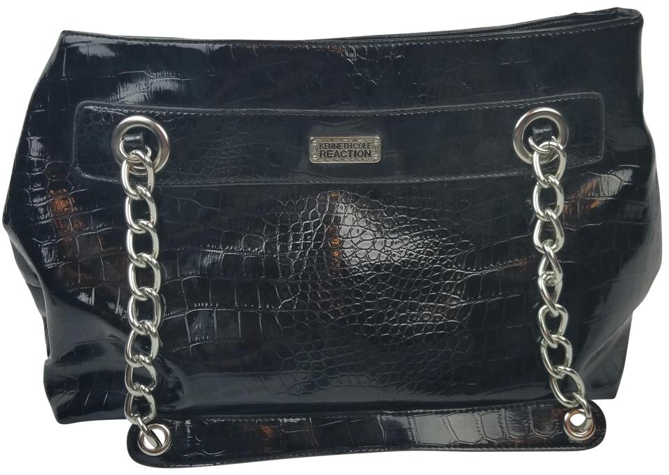 29bed1403 Kenneth Cole Reaction Faux Leather Crocodile Chain Handbag Purse Satchel in  Black Image 0 ...