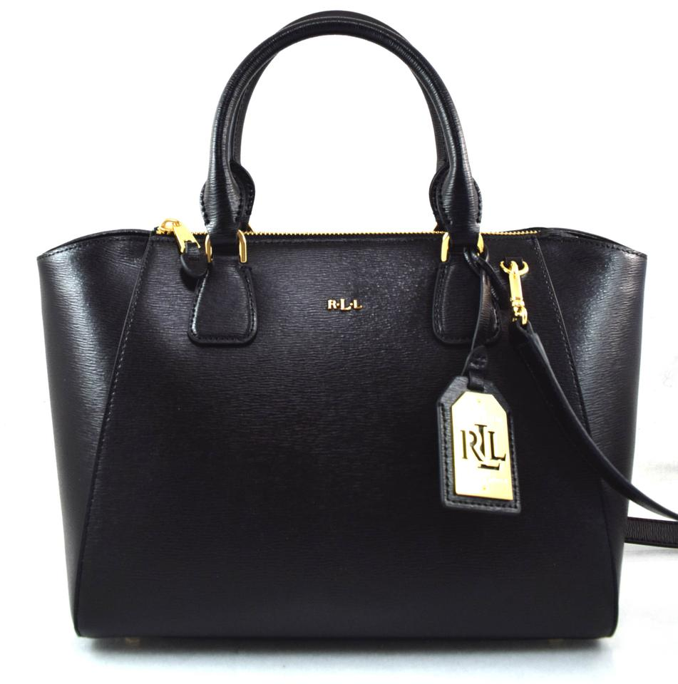 b7d7896a3f08 Lauren Ralph Lauren Lowell Stefanie Ii Black Leather Satchel - Tradesy