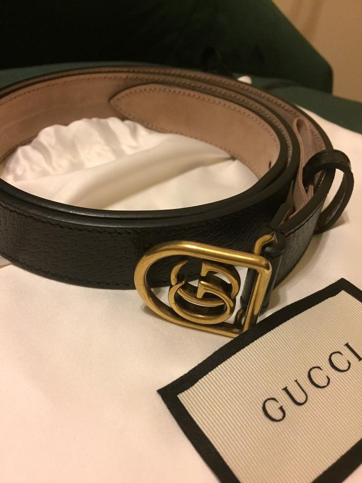 380d600f32d Gucci Black Leather with Framed Double G Belt - Tradesy