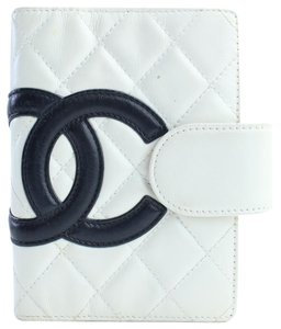 Chanel Diary Cover Notebook Folder Book White x Black Clutch