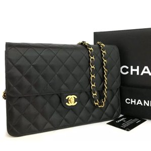 6e4f45ff604f Chanel Classic Flap Box Cc Turn Lock Quilted Matelasse 25 with Card Dustbag  Black Lambskin Leather Shoulder Bag