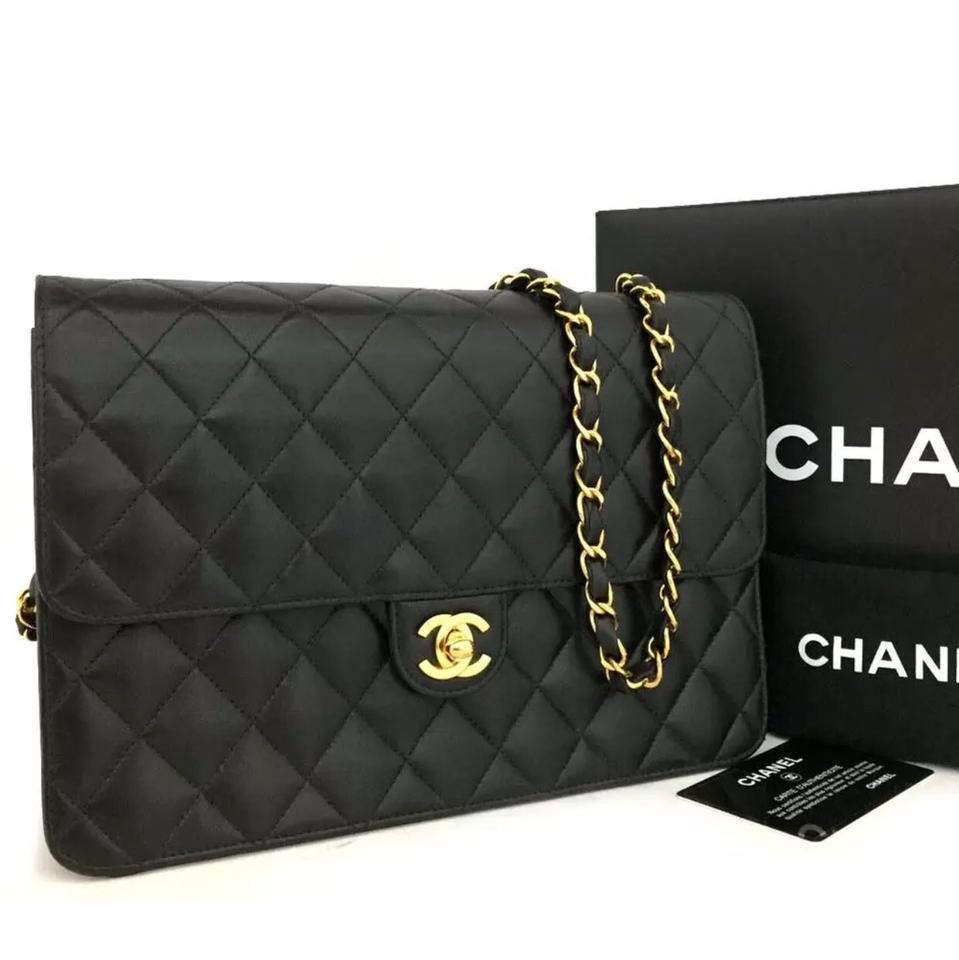 8498bc544159 Chanel Classic Flap Box Cc Turn Lock Quilted Matelasse 25 with Card Dustbag  Black Lambskin Leather Shoulder Bag - Tradesy