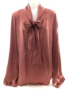 Calypso St. Barth Silk Bow Tie Top Dusty Rose