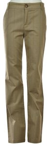 Marc by Marc Jacobs Striped Cotton Casual Zipper Pockets Straight Pants Beige