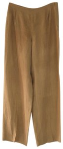 Armani Collezioni Linen Sheer Slub Italy Straight Pants Light Brown