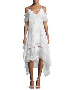 White Maxi Dress by self-portrait Off The Shoulder Embroidered