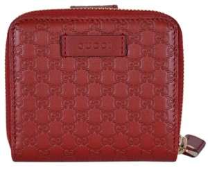 ced41f3fdf4 Gucci New Gucci Women s 449395 Red Leather Micro GG Guccissima French Wallet