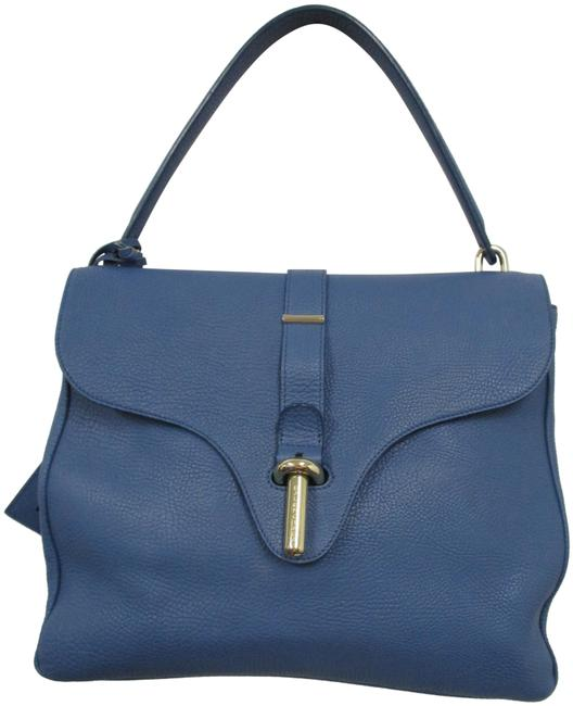 Item - Grained with Silver Hardware Blue Leather Tote