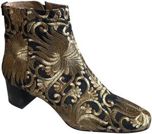 Tory Burch Gold/ Black Boots