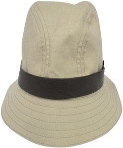 Gucci GUCCI Beige Cotton Blend Fedora with Leather Hat Band -Medium -NWT