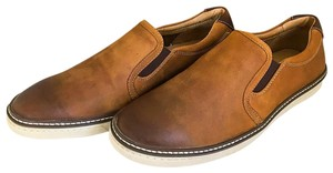 Johnston & Murphy Grain Leather Slip-on Tan Oiled Flats