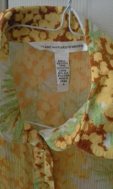 Diane von Furstenberg Top Multi color Yellow, green white, light brown