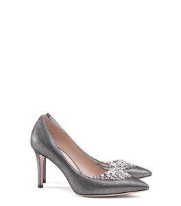 Tory Burch Metallic Leather Crystal Evening Pump Pewter Formal