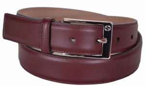 Gucci New Gucci Men's 345658 Strong Red Smooth Leather GG Belt 42 105