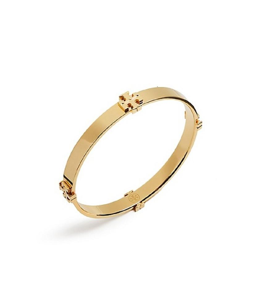 Tory Burch New Station Logo Bracelet Bangle 16k Gold