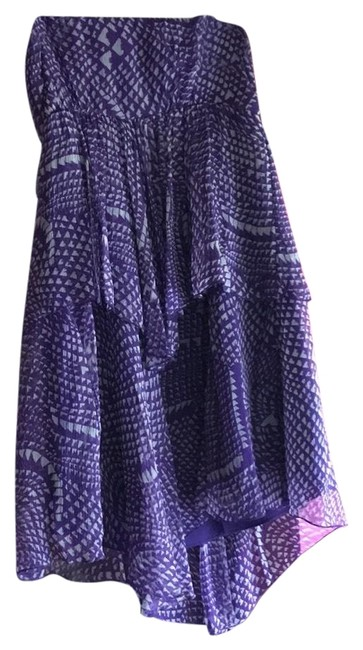 Item - Purple/White Tiered Strapless Mid-length Cocktail Dress Size 8 (M)
