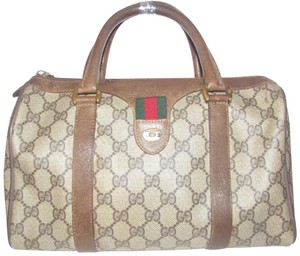 Gucci Doctor's Boston Accessory Red/Green Mint Vintage Satchel in brown large G logo print coated canvas and brown leather with a red/green striped accent