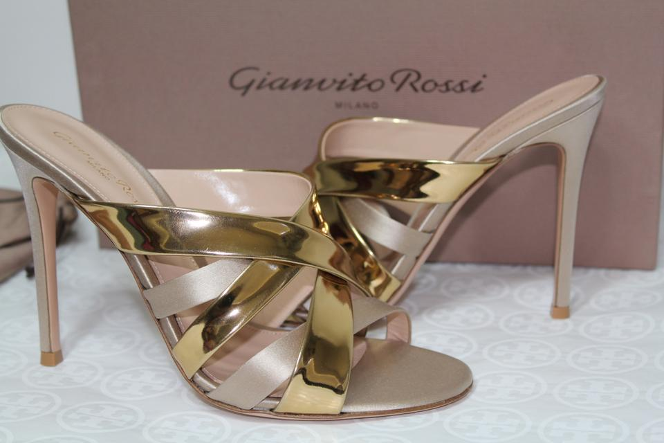 75558a2e10ef Gianvito Rossi Metallic Gold New Strappy Leather Satin Slide Sandals Size  EU 39 (Approx. US 9) Regular (M