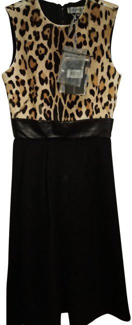 Item - Black Yellow Brown Made In Italy Two Piece Leather And Mid-length Night Out Dress Size 6 (S)