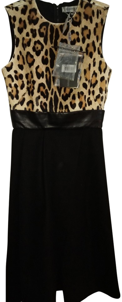 290e124065f Max Mara Black Yellow Brown Animal Print Ponihair Made In Italy Two Piece  Leather And Night Out Dress