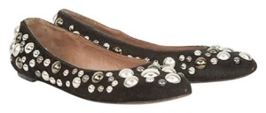 ALAÏA Studded Pony Hair Round Toe Brown Flats
