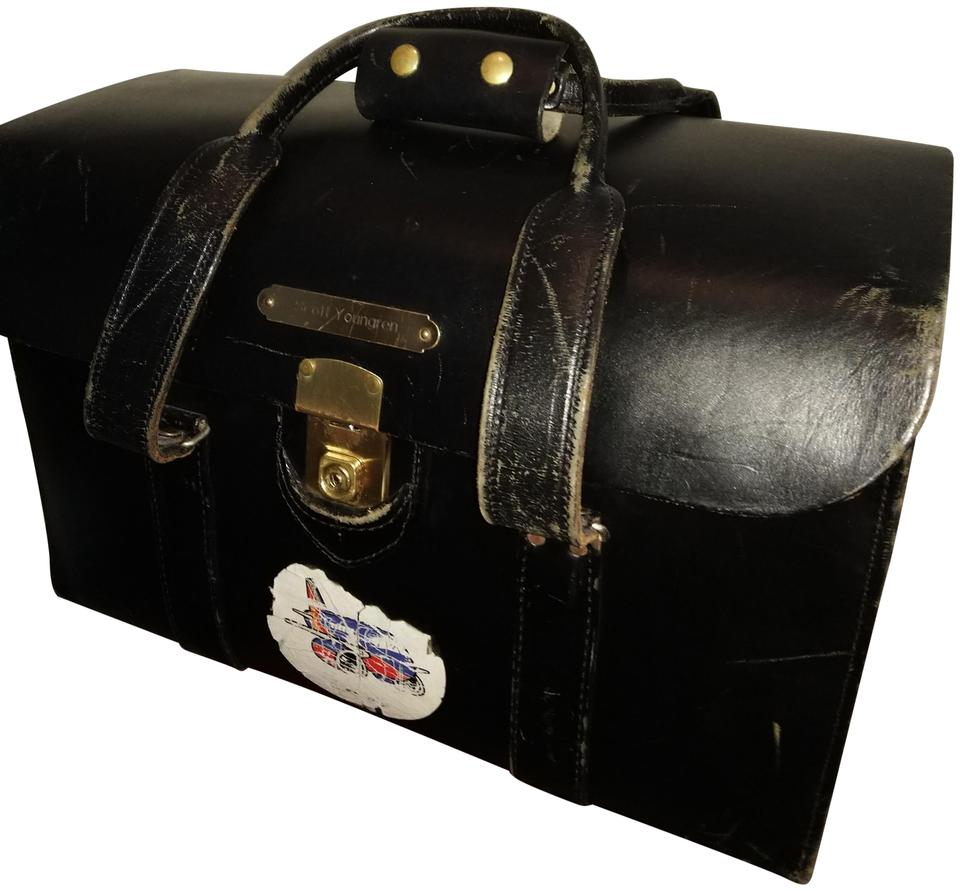Genuine Airline Pilot Round Top Flight Case Black Saddle Leather  Weekend/Travel Bag