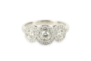 Tiffany & Co. Silver Circlet Diamond 3 Halo Platinum Engagement Ring