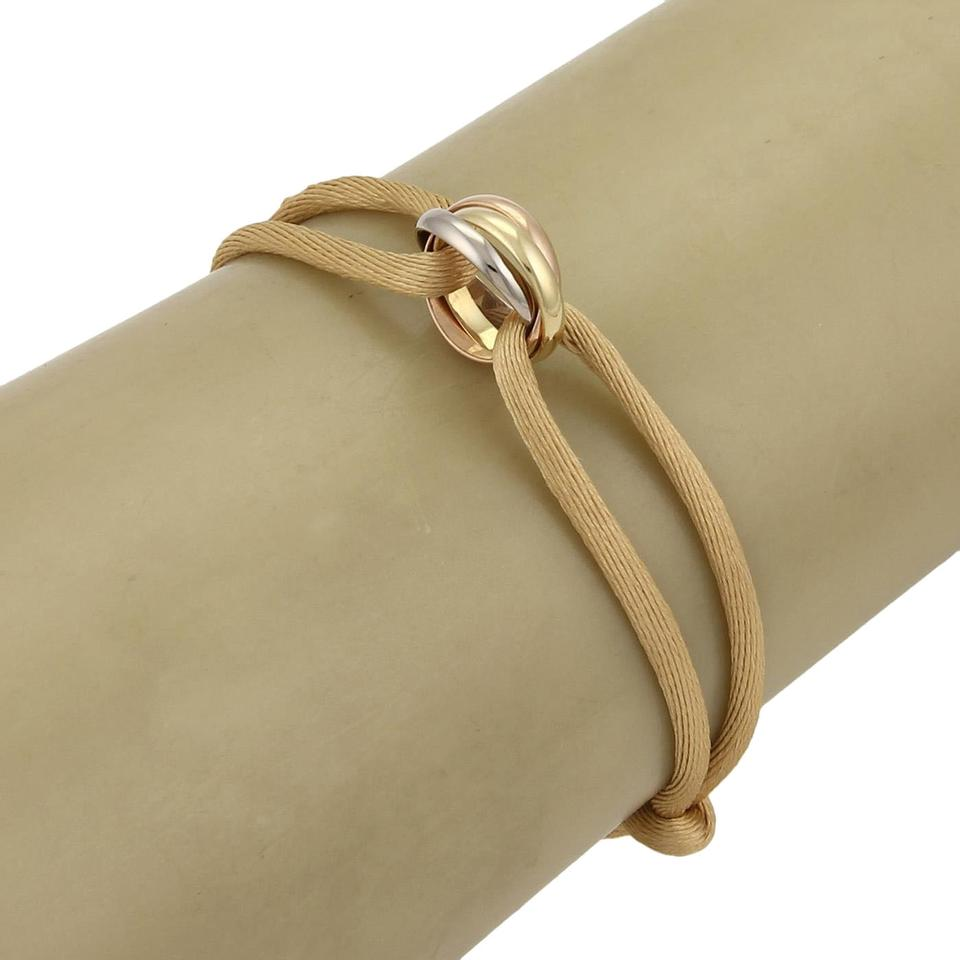 Cartier Trinity 18k Tricolor Gold Mini Rolling Ring Silk Cord Bracelet