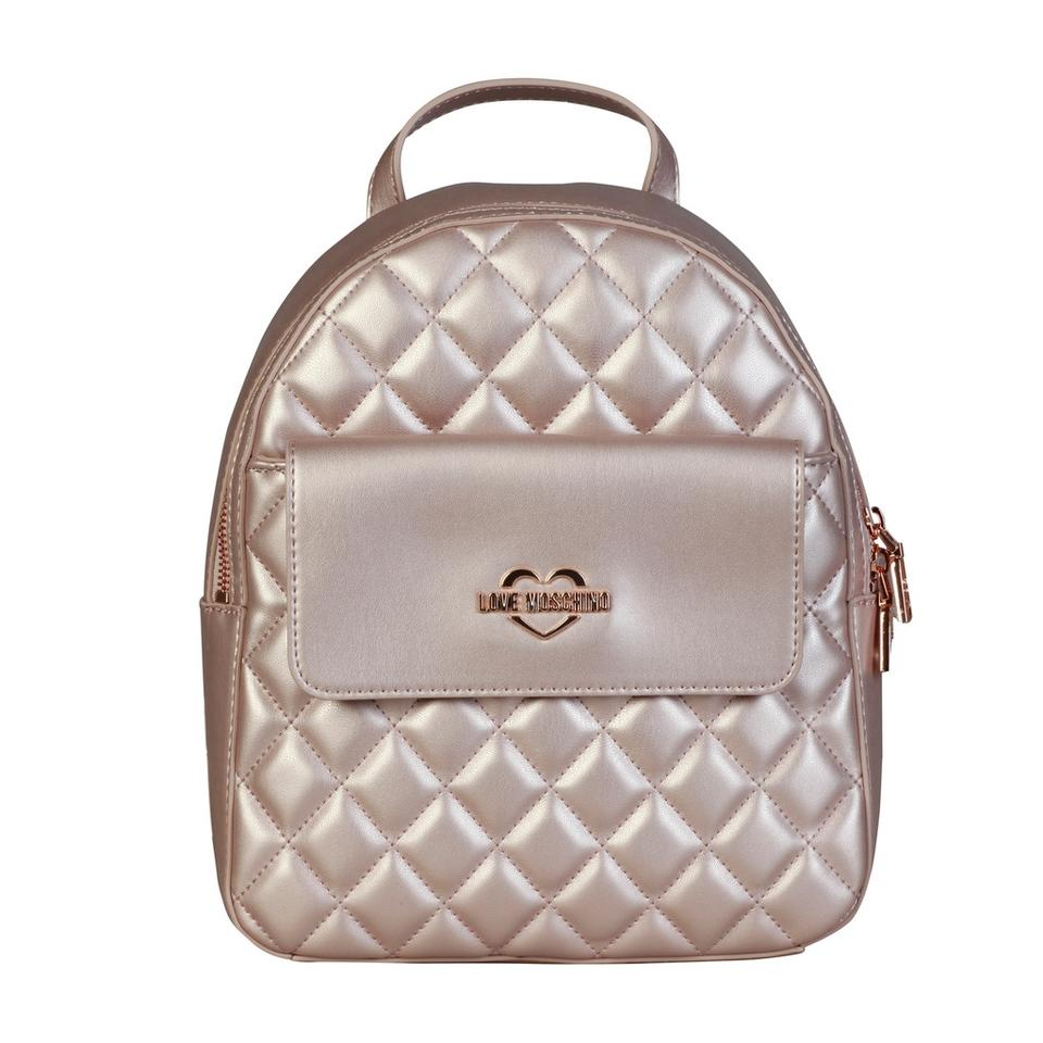 e35f16519b Love Moschino Quilted Rose Gold Syntehtic Leather Backpack - Tradesy