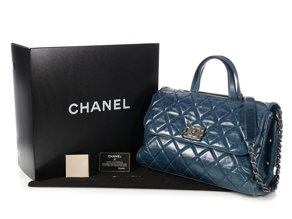 bb3d1f46850f Chanel Boy Quilted Distressed Convertible Blue Calfskin Leather Tote ...