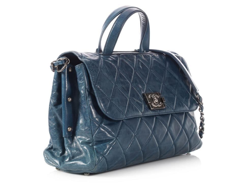 a1cc2ad426fa Chanel Boy Quilted Distressed Convertible Blue Calfskin Leather Tote ...