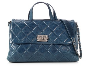 Chanel Antiqued Silver Glazed Leather Ch P0302 05 Distressed Navy Tote In Blue