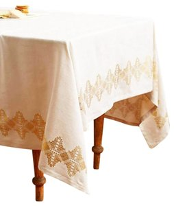 Anthropologie Ivory Gold Golden Glimmer Tablecloth