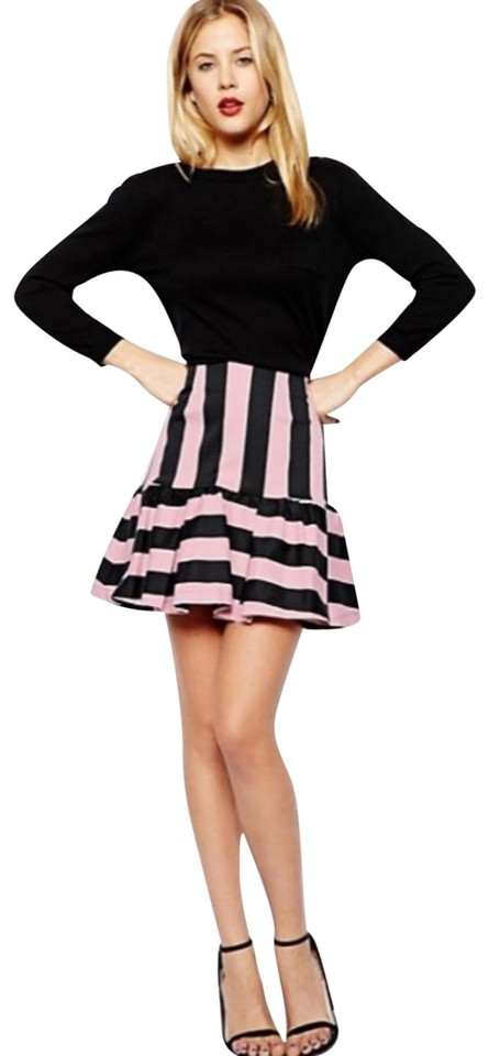 3c4aa5307d1 ASOS Navy Blue Pink In Stripe with Peplum Skirt Size 2 (XS