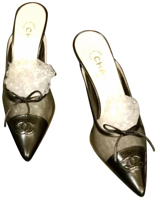 Item - Black Leather with Sheer Silohouette Netting Mules Sandals Size EU 37 (Approx. US 7) Regular (M, B)