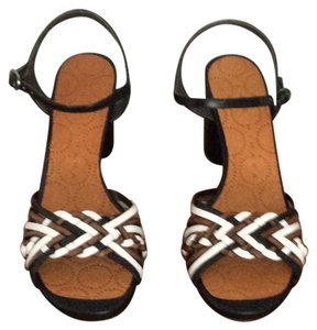 Chie Mihara black heel, black, saddle and white over foot Sandals