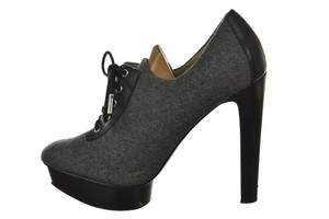 MICHAEL Michael Kors Lace Up Platform Wool Leather Square Toe Gray, Black Boots