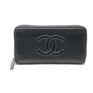 Chanel Signature Metallic Caviar Leather Large CC Zip Around Long Dark Silver